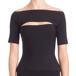 T BY ALEXANDER WANG NEEDLE-KNIT OFF SHOULDER TOP